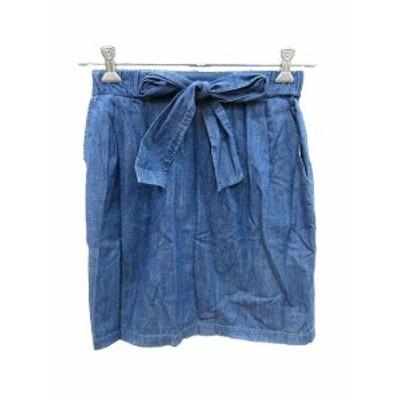 【中古】ストロベリーフィールズ STRAWBERRY-FIELDS スカート デニム 台形 ミニ 1 青 ブルー /YK レディース