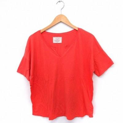 【中古】アングリッド UNGRID Tシャツ カットソー オープンフロントネック 半袖 無地 シンプル 綿 F オレンジ /FT16 レディース 【ベクトル 古着】