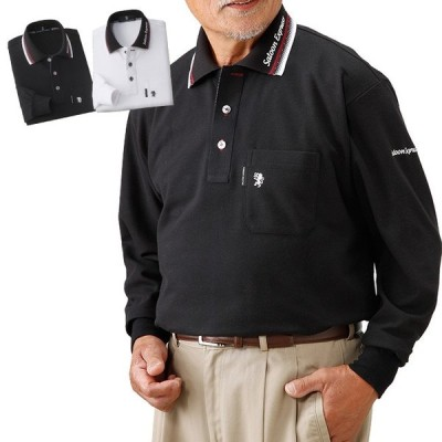SALOON EXPRESS モノトーン長袖ポロシャツ2色組 AO-0026(ポロシャツ メンズ ファッション トップス シャツ 長袖 紳士)