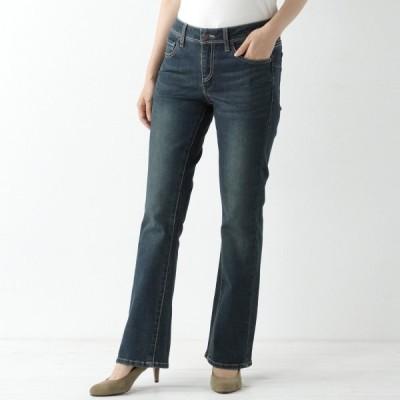 パンツ レディース デニム ジーンズ 大人気定番デニム◎大人の女性のための美尻ブーツカットデニム 「ダークブルー」