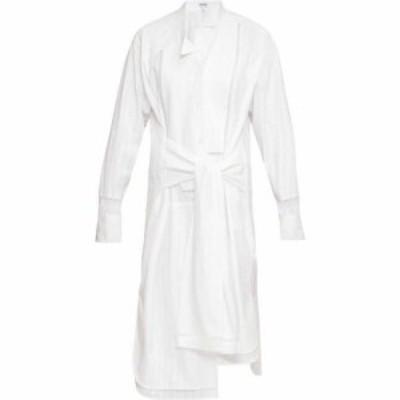ロエベ Loewe レディース ワンピース シャツワンピース ワンピース・ドレス Tie-front ladder-inset striped cotton shirt dress White