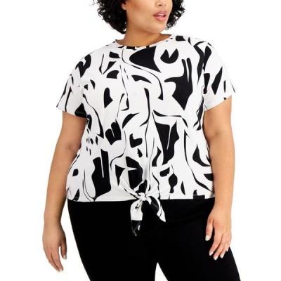 アイエヌシーインターナショナルコンセプト レディース シャツ トップス INC Plus Size Cotton Printed Shoulder-Pad Tie-Front Top
