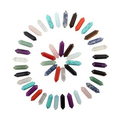 (新品) Hexagonal 30pcs Bullet Shape Healing Pointed Chakra Beads Crystal DIY Stone Beads Randow Color for Pendant Necklace Jewelry Mak