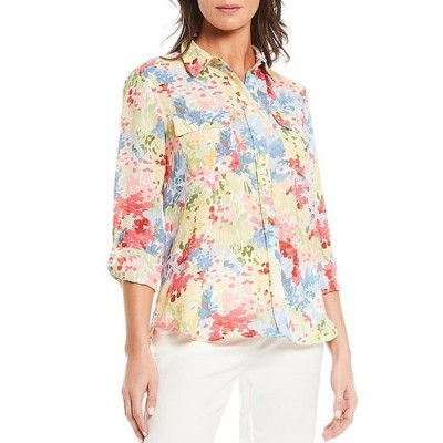インベストメンツ レディース シャツ トップス Petite Size Olivia Long Sleeve Roll-Tab Button-Front Floral Print Utility Blouse