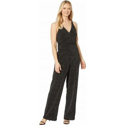 ドナ モルガン Donna Morgan レディース オールインワン Metallic Stretch Knit Deep V-Neck Sleeveless Wide Leg Jumpsuit
