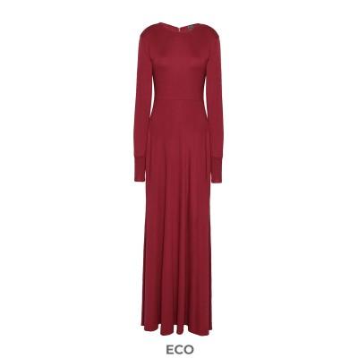 8 by YOOX ロングワンピース&ドレス ボルドー S EcoVero™ レーヨン 100% ロングワンピース&ドレス