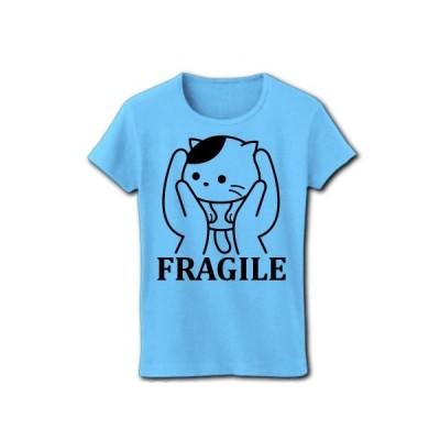 ねこは壊れ物扱い リブクルーネックTシャツ(ライトブルー)