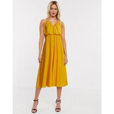 エイソス レディース ワンピース トップス ASOS DESIGN cami plunge midi dress with blouson top in mustard Mustard