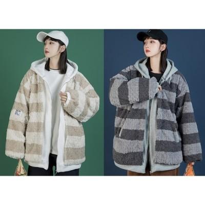 全2色 ファーコート フェイク 切り替え バイカラー 厚手 大きいサイズ