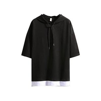 (ゆうや)YoYeah Tシャツ 半袖 カットソー メンズ ゆったり おしゃれ 薄手 涼しい カジュアル オールシーズン (ブラック01 L)
