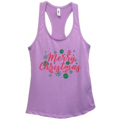 レディース 衣類 トップス Women's Christmas Basic Tank Top Merry Christmas Holiday Tank Top Gift - Funny Threadz Small Lavender