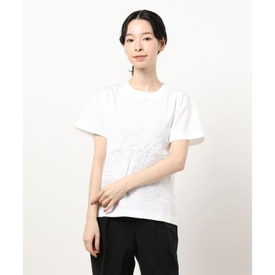 tシャツ Tシャツ 刺繍&ギピュールレースパッチTシャツ