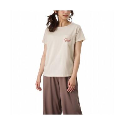 (MAC HOUSE(women)/マックハウス レディース)T-GRAPHICS ティーグラフィックス ポケット付き両面プリントTシャツ EJ213-WC206/レディース ベージュ