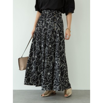 【WEB限定】サイズ・丈調整 花柄ティアードスカート