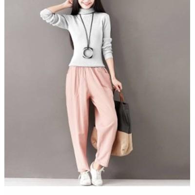 らくちん涼しげな綿麻パンツ ウエストゴムでゆったり動きやすい スタイルカバーしながらお洒落にリラックスカジュアル