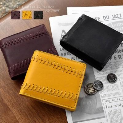 財布 メンズ 二つ折り 本革 グラブレザー グラブモチーフデザイン ショートウォレット MIZUNO 1GJYG06100