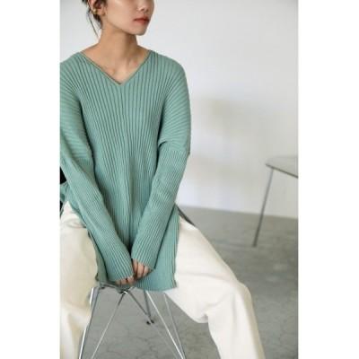 ニット cotton washable rib knit tops(コットンウォッシャブルリブニットトップス)
