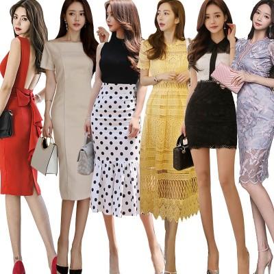 💖 2020秋服新作追加特価ワンピース💖韓国ファッション高品質ワンピースOLドレス 深いVネック通勤制服  セクシーなワンピース一字肩 側開豪華洋服