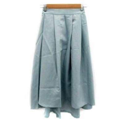 【中古】レイカズン Ray cassin スカート フレア フィッシュテール ロング丈 無地 F 水色 ライトブルー レディース