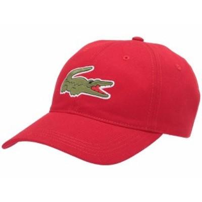 ラコステ メンズ 帽子 アクセサリー Big Croc Twill Leatherstrap Cap Red