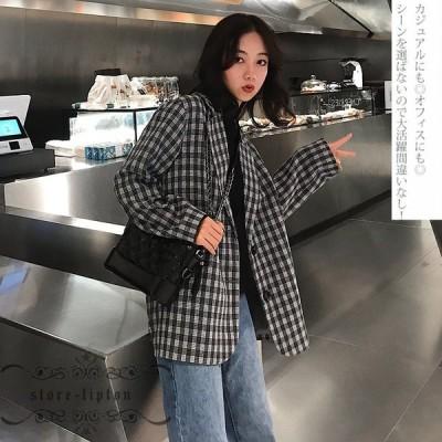 コート レディース チェスターコート 着痩せ ゆったり チェック テーラードジャケット 40代 大人 通勤 韓国風 春秋コート