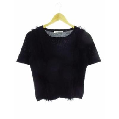 【中古】エムプルミエ ブラック M-Premier BLACK ニット カットソー 半袖 フリンジ 36 黒 ブラック /CK レディース