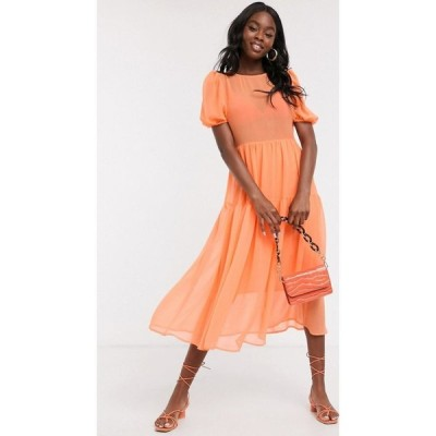 ネバーフリードレス Never Fully Dressed レディース ワンピース ティアードドレス puff sleeve sheer tiered trapeze maxi dress in neon orange