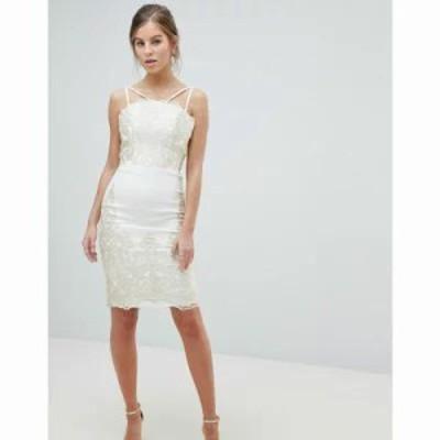 チチロンドン ワンピース Lace Detail Pencil Midi Prom Dress with V Back Cream/gold