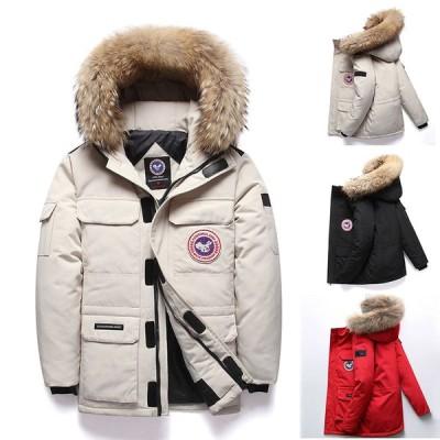 コート メンズ ダウンコート冬 ホワイトブラック  レッド 無地 ダウンジャケット フード付き フード着脱 ファー付き ドローストリング 内ポケット
