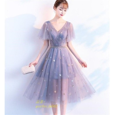 パーティードレス 結婚式 ドレス 二次会 卒業式 ドレス 二次会ドレス パーティドレス 大きいサイズ ミディアム丈ドレス フレア お呼ばれドレス 成人式 袖あり