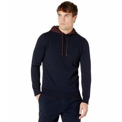 イレブンティ パーカー・スウェットシャツ アウター メンズ Contrast Color Pullover Hoodie Navy/Burgundy