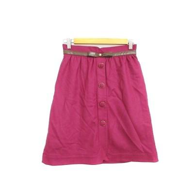 【中古】クイーンズコート QUEENS COURT スカート 台形 ひざ丈 リボン 2 ピンク /AAM40 レディース 【ベクトル 古着】