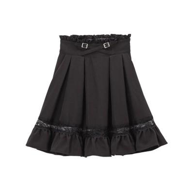 ユメテンボウ 夢展望 レースガーターデザインスカート (膝上 ブラック)