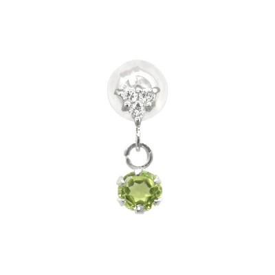 18金ピアス メンズ ペリドット 片耳ピアス 8月誕生石 ダイヤモンド ホワイトゴールドk18ダイヤ 男性用 宝石 18k ファーストピアス 緑の宝石 送料無料