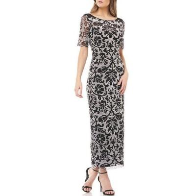 ジェイエスコレクションズ レディース ワンピース トップス V-Back Reversed Embroidered Mesh Elbow Sleeve Tea Length Gown