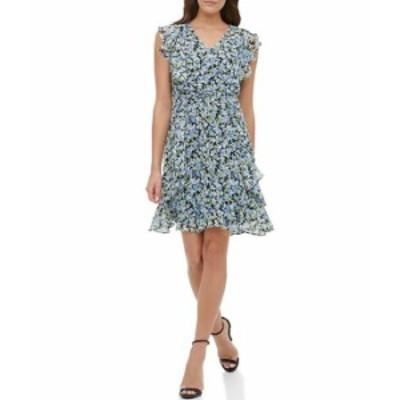 トミー ヒルフィガー レディース ワンピース トップス Floral Print Chiffon Ruffle Sheath Dress Sky Captain Floral