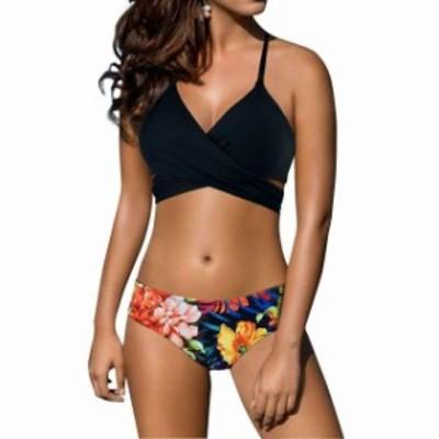 スポーツ用品 スイミング Z-Dear NEW Black Womens Size Small S Bikini Floral Printed Wrap Swimwear #497