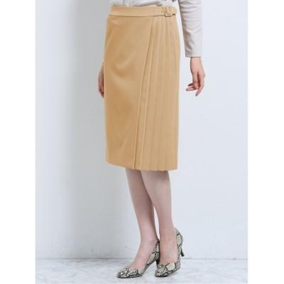 【タカキュー】 ダブルクロス セットアップ サイドプリーツスカート キャメル レディース キャメル LL(XL) TAKA-Q