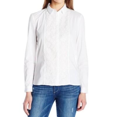 レディース 衣類 トップス French Connection NEW White Womens Size 4 Pixilated Lace Button Down Top ブラウス&シャツ