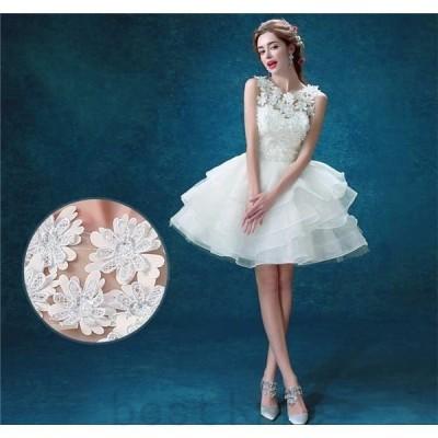 ウェディングドレスミニ二次会白ドレス人気ウエディングドレス安い結婚式パーティ披露宴パーティードレス花嫁ミニドレスオフショルダー