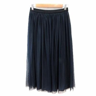 【中古】シップス SHIPS チュールスカート ギャザー ミモレ ロング 紺 ネイビー /AU レディース