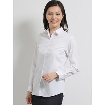 形態安定ストレッチ レギュラーカラー長袖シャツ/ブラウス