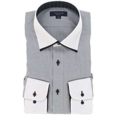 形態安定抗菌防臭スリムフィット マイターワイドカラークレリック長袖ビジネスドレスシャツ/ワイシャツ