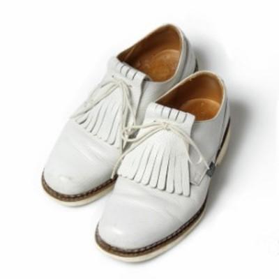 パラブーツ PARA BOOT  District別注 ぺリアン プレーントゥ ホワイトレザー UK5.5 レザー シューズ メンズ 靴 【中古】