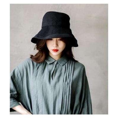 ladys  バゲット帽  折り畳み 帽子   つば広ハット UV対策  無地 リボン付き