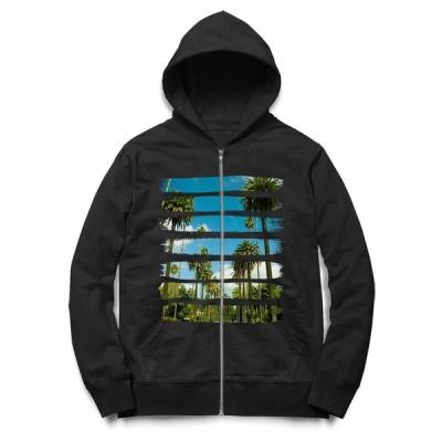 【カリフォルニアの青い空とヤシの木】キッズ ジップアップ パーカー