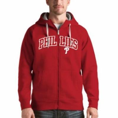 Antigua アンティグア スポーツ用品  Antigua Philadelphia Phillies Red Victory Full-Zip Hoodie