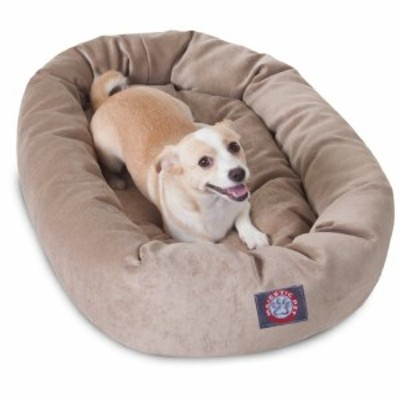 32 inch Pearl Villa Collection Micro Velvet Bagel Dog Bed By Majestic (新古未使用品)