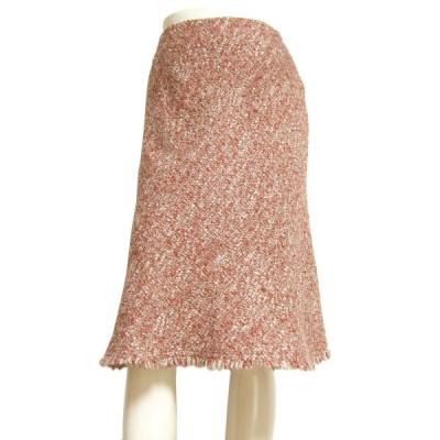 美品/エムズグレイシー M'S GRACY 暖かフレアスカート 表記9号(M相当) 赤/レッド ツイード素材 お出掛け 秋冬向け ボトムス レディース