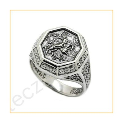 The Saint George the Victorious Archangel Mens Ring Silver【並行輸入品】